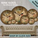 : Large wall clock with country wall clocks with big round wall clocks with oversized vintage wall clock