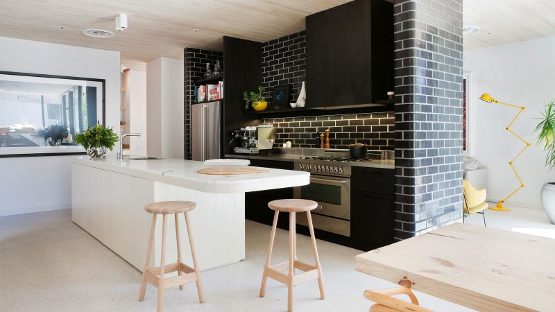 A combination of black and white will give a luxury style for big kitchen modern with white kitchen island ideas and also black kitchen cabinet design and also tools round Seat