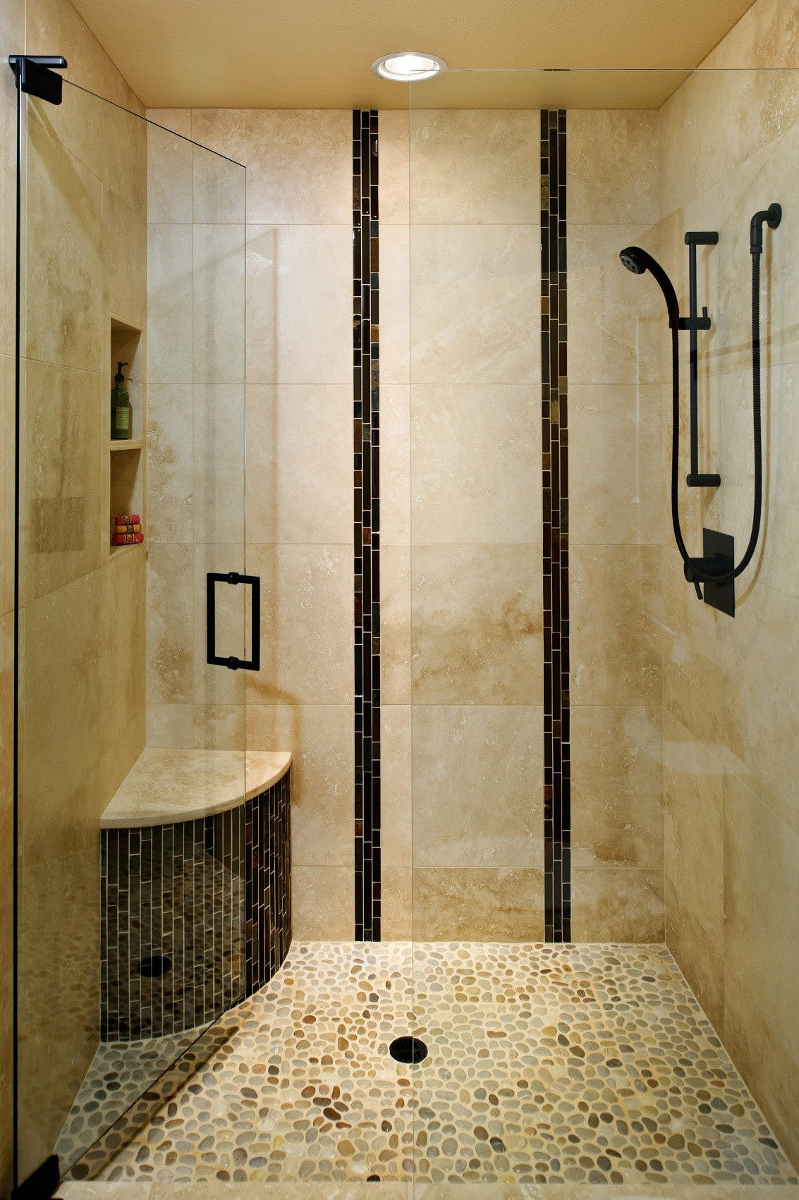 Marble Tile Walk In Shower For Good Bathroom Remodel Ideas Be Equipped With Bathtub Shower With Faucet Bronze And Window Treatment Ideas And Also Paint The Wall Brown Color Bathroom Tiles For Small Bathroom Inspiration Home Magazine
