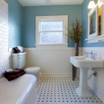 : Beadboard bathroom with bead boarding walls with trim for beadboard paneling with painted beadboard ceiling
