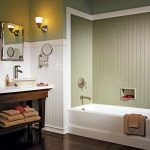 : Beadboard bathroom with beadboard wainscoting with beadboard ceiling panels with beadboard paneling sheet