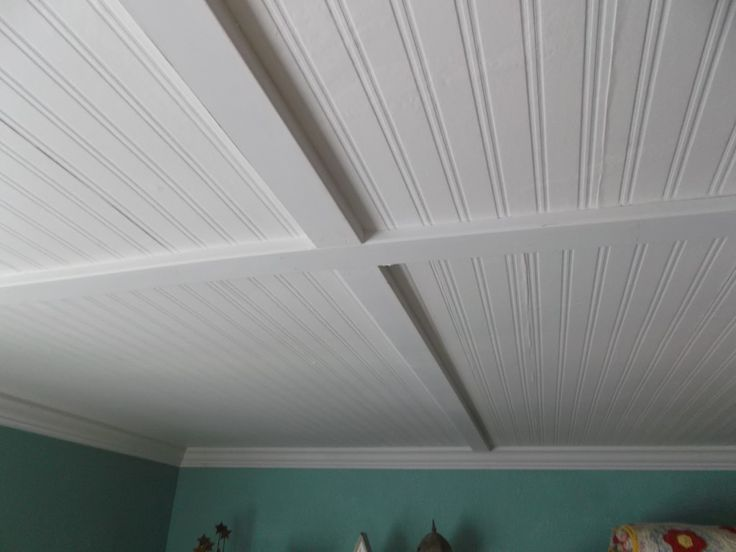 Beadboard ceiling with pre painted wainscoting with bead boarding walls with easy coffered ceiling