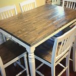 : Butcher Block Table with butcher block bar top with small butcher block table