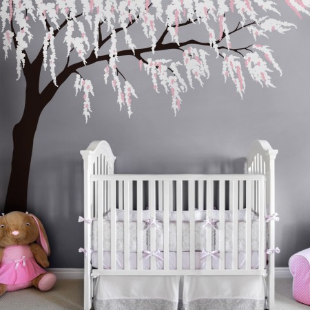 Cherry blossom wall decal with baby nursery wall stickers with nursery wall decor