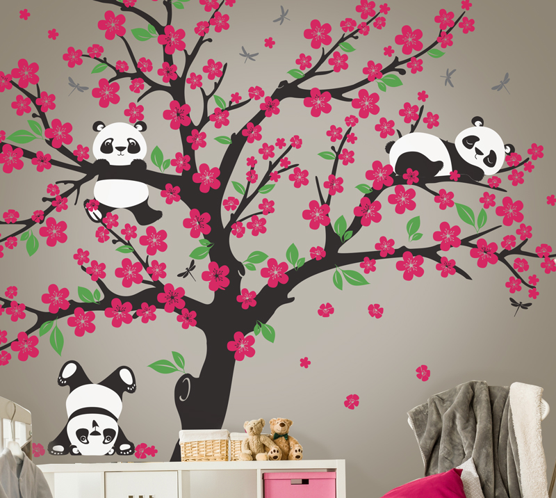 Cherry blossom wall decal with cherry blossom nursery decor with ballerina wall stickers