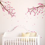 : Cherry blossom wall decal with cherry blossom nursery theme with wall stickers trees and flowers