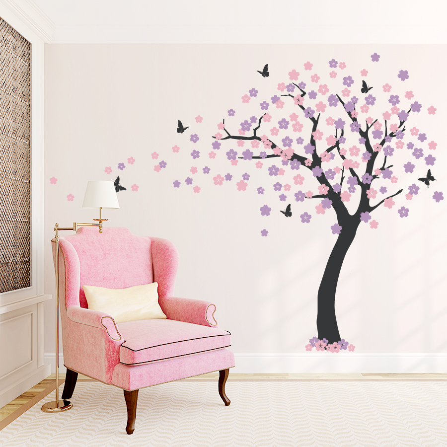 Cherry blossom wall decal with cherry blossom tree painting on wall with cherry blossom tree mural wall