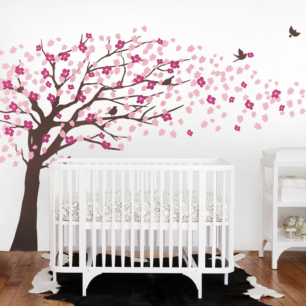 Cherry blossom wall decal with childrens wall stickers with nursery wall stickers