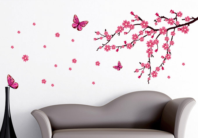 Cherry blossom wall decal with floral wall decals with blossom tree wall sticker