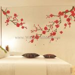 : Cherry blossom wall decal with flower wall stickers for bedrooms with cherry blossom wall