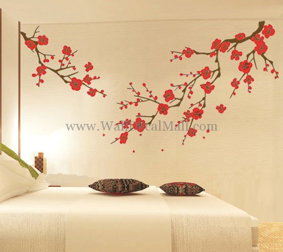 Cherry blossom wall decal with flower wall stickers for bedrooms with cherry blossom wall