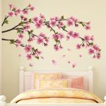 : Cherry blossom wall decal with removable tree wall decal with tree branch with birds wall decal