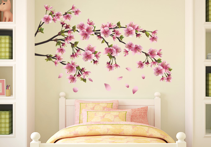 Cherry blossom wall decal with removable tree wall decal with tree branch with birds wall decal