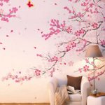 : Cherry blossom wall decal with removable wall stickers with wall stencils
