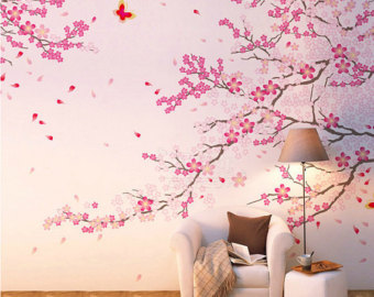 Cherry blossom wall decal with removable wall stickers with wall stencils