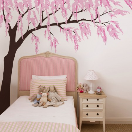Cherry blossom wall decal with tree decal wall art with branch wall stickers with wall decals stickers vinyl