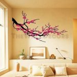 : Cherry blossom wall decal with tree wall art with japanese cherry blossom wall decal
