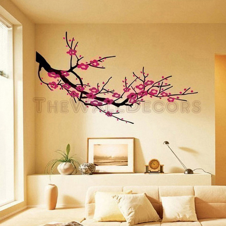 Cherry blossom wall decal with tree wall art with japanese cherry blossom wall decal