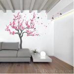 : Cherry blossom wall decal with wall decals for living room with girls wall decals