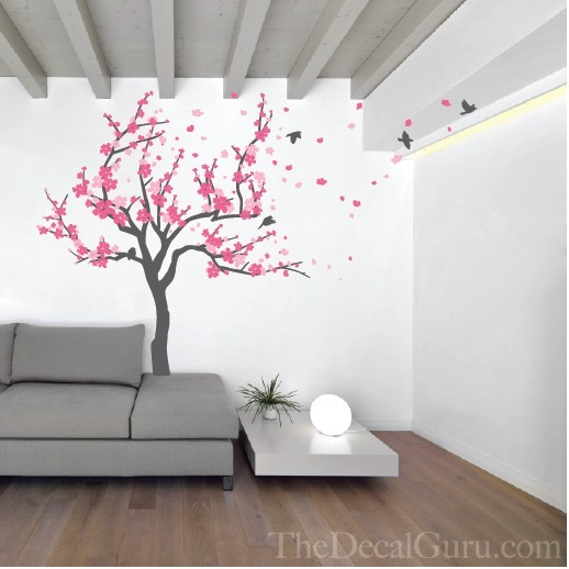Cherry blossom wall decal with wall decals for living room with girls wall decals