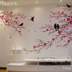 : Cherry blossom wall decal with wall tree decor with tree wall stickers for bedrooms
