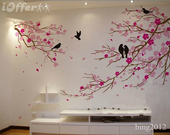 Cherry blossom wall decal with wall tree decor with tree wall stickers for bedrooms