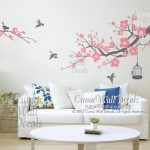 : Cherry blossom wall decal with world map wall decal with family tree wall decal