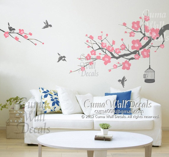 Cherry blossom wall decal with world map wall decal with family tree wall decal