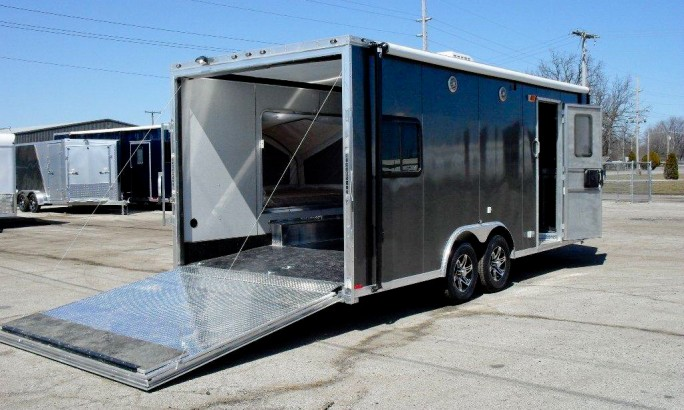 Enclosed motorcycle trailer with folding motorcycle trailer with snowmobile trailers