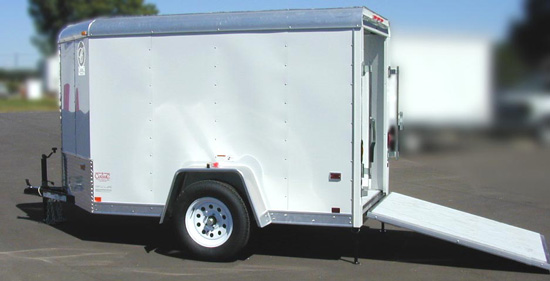 Enclosed motorcycle trailer with utility trailer parts with covered motorcycle trailers