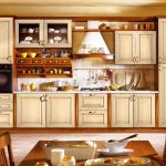 : Kitchen locker is a good kitchen suitable with kitchen closet–cute chimney Gas stove can also be used & vintage dining table as complementary