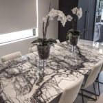 : Marble dining table also oak extend