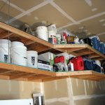 : Overhead garage storage with garage ceiling hangers with hanging garage storage systems with garage shelving and storage