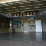 : Overhead garage storage with garage organization shelves with ceiling mounted garage shelves