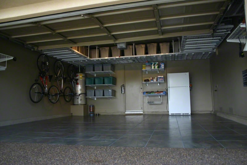 Overhead garage storage with garage organization shelves with ceiling mounted garage shelves