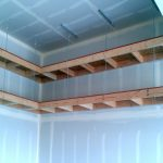 : Overhead garage storage with hanging shelves from garage ceiling with garage wall storage solutions