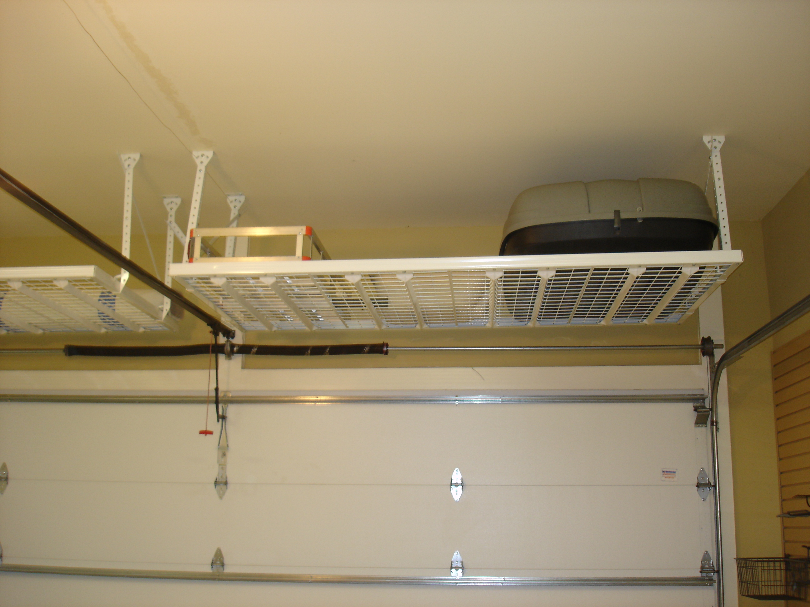 Overhead garage storage with high ceiling garage storage with garage ceiling storage shelves