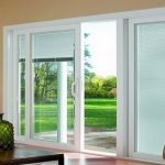 : Patio door blinds with vertical blinds for bay windows with patio door window treatments