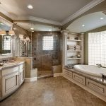 : Simple master bathroom ideas but it looks elegant in here you can adding using oval drop in bathtub also corner walk in showers without doors & bathroom countertops granite with sink & bahtroom mirror