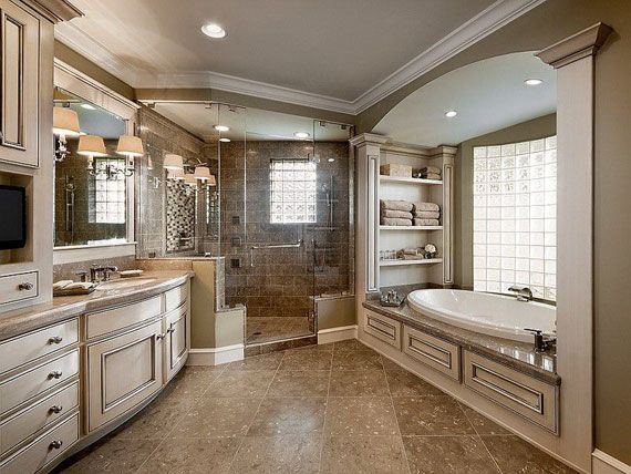 Simple master bathroom ideas but it looks elegant in here you can adding using oval drop in bathtub also corner walk in showers without doors & bathroom countertops granite with sink & bahtroom mirror