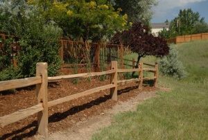 Split rail fence plus pvc fence panels plus stockade fence plus snow fence plus lattice fence