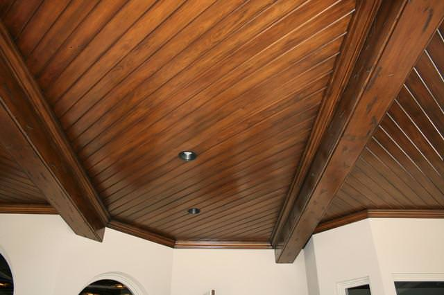 Tongue and groove ceiling plus tongue and groove porch ceiling plus cedar ceiling planks plus tongue and groove pine walls