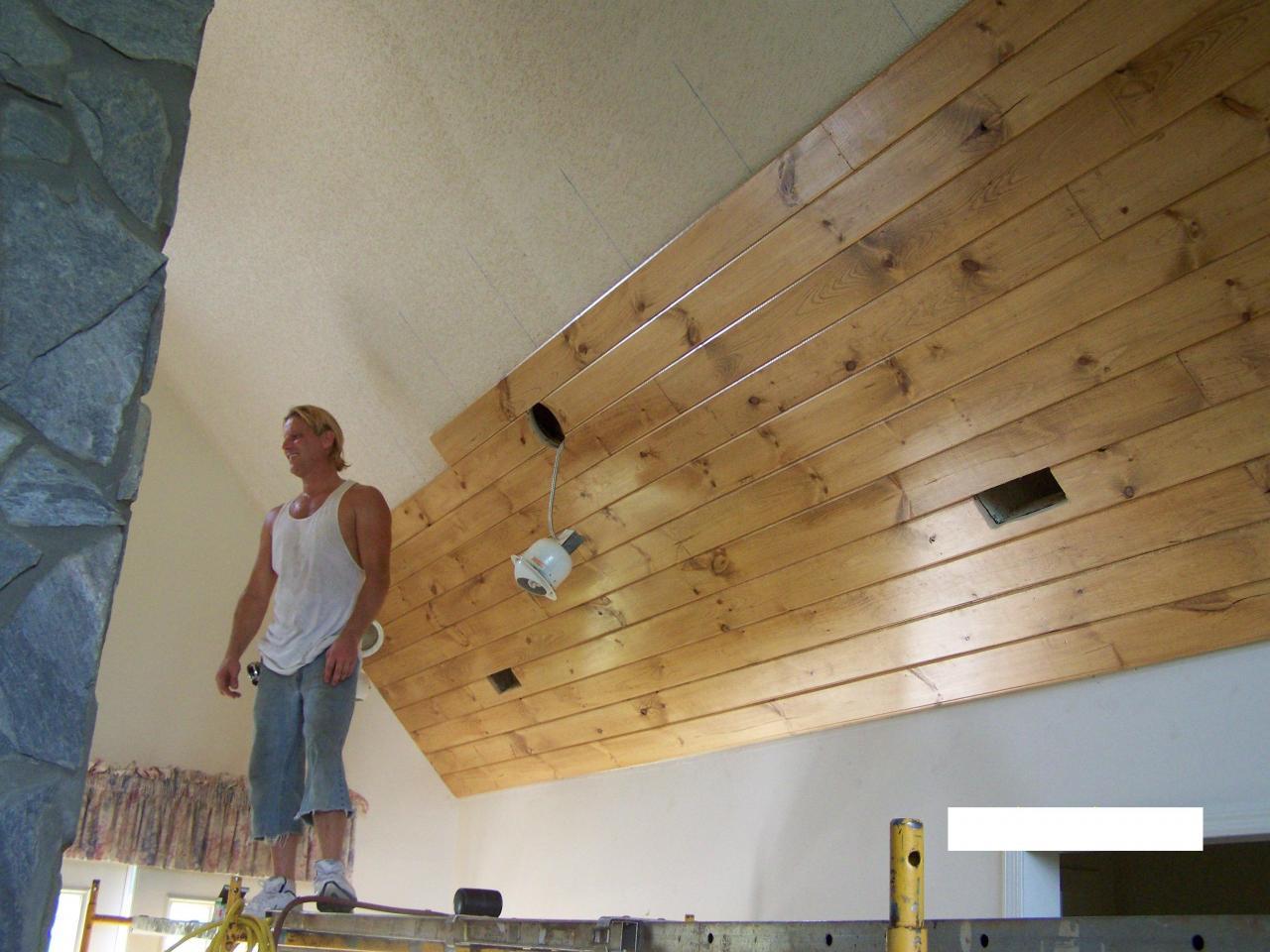 Tongue and groove ceiling plus wood plank ceiling plus knotty pine paneling plus tongue groove ceiling