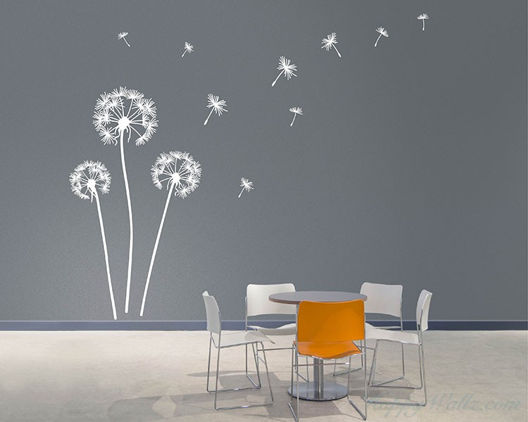 Vinyl wall decals with self adhesive wall art with wall art decal stickers with dandelion wall sticker