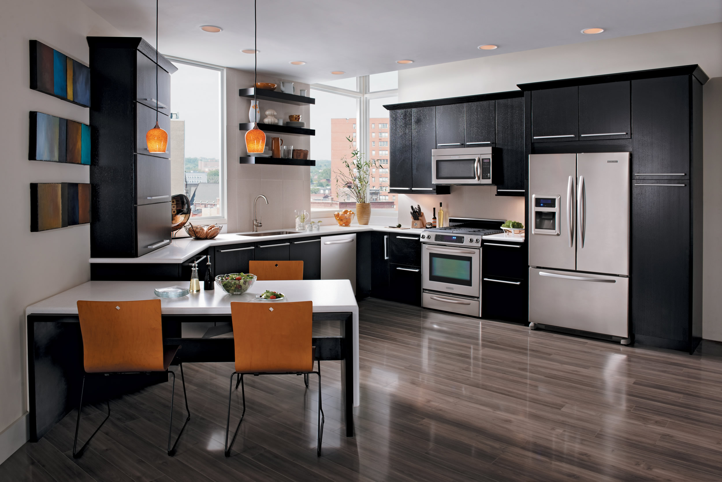 black kitchen cabinet modern with corner stove and storage for best kitchen modern with modern dining table sets and also black floating shelf kitchen with ideas flooring