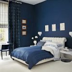 : blue bedroom color ideas inside cool master bedroom design with vavy color pattern window curtain and white modern side bedroom also with high glass coffee table & flower vase