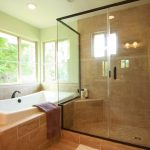: brown marble flooring for small bathroom remodel ideas be equipped with walk in shower glass door and bathtub shower surround ideas also bathroom windows inside shower