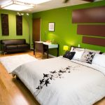 : contemporary bedroom ideas with green bedroom color ideas plus black leather sofa be equipped lighting ceiling flush mount & simple makeup vanity without mirror & white rug