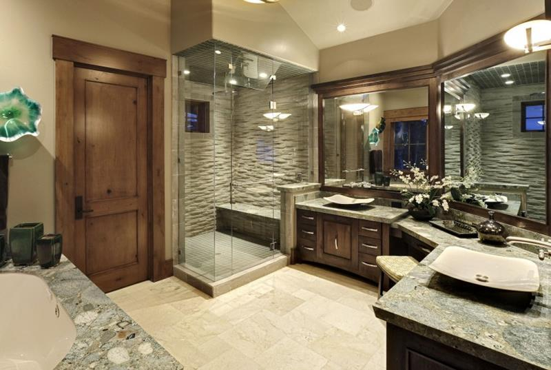 cool master bathroom idea apply marble walk in shower bench design be equipped with large bathroom vanity mirror with vessel flat plus decoration flower vase & ceiling lighting