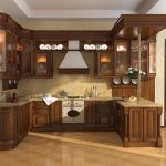 : dark Kitchen locker is a modern kitchen suitable with modern kitchen closet for storing plates and ceramic tiles as a floor also cute ceiling and cute crown moulding